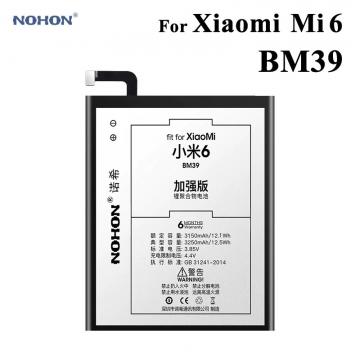 Аккумулятор Nohon батарея для Xiaomi Mi6, модель BM39, оригинальный литий-полимерный аккумулятор известного производителя Nohon, ёмкость 3250 мА/ч (12,5 Вт/ч), Киев