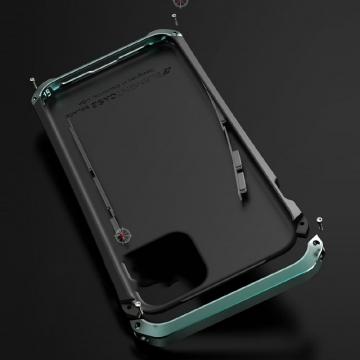 Чехол Element Case Solace (Element Box) для смартфона iPhone 11, противоударный бампер, корпус из поликарбоната, алюминиевые накладки, бампер состоит из трёх частей, скрученных четырьмя винтиками, в комплект входит отвёртка и 2 запасных винтика, резиновые прокладки на внутренней поверхности рамы для защиты корпуса смартфона, встроенные кнопки регулировки громкости, фабричная упаковка, Киев