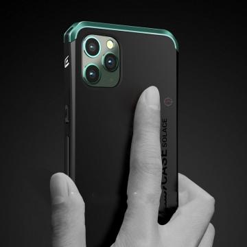 Чехол Element Case Solace (Element Box) для смартфона iPhone 11 Pro, противоударный бампер, корпус из поликарбоната, алюминиевые накладки, бампер состоит из трёх частей, скрученных четырьмя винтиками, в комплект входит отвёртка и 2 запасных винтика, резиновые прокладки на внутренней поверхности рамы для защиты корпуса смартфона, встроенные кнопки регулировки громкости, фабричная упаковка, Киев