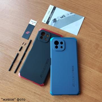 Чехол Element Case Solace Element Box для смартфона Xiaomi Mi 11 Lite / Xiaomi Mi 11 Lite 5G / Xiaomi Mi 11 Youth Edition, противоударный бампер, корпус из поликарбоната, алюминиевые накладки, бампер состоит из трёх частей, скрученных четырьмя винтиками, в комплект входит отвёртка и 2 запасных винтика, резиновые прокладки на внутренней поверхности рамы для защиты корпуса смартфона со встроенными кнопками регулировки громкости и включения / выключения, фабричная упаковка, Киев