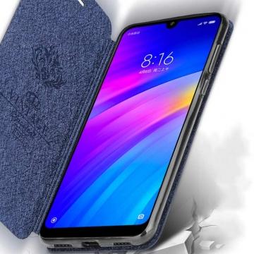 Чехол-книжка MOFI для смартфона Xiaomi Redmi 7, противоударный чехол, горизонтальный флип, силиконовая накладка, флип из искусственной кожи, металлическая пластина внутри флипа, возможность трансформации чехла в подставку для просмотра видео, чёрный, синий, розовый, красный, Киев