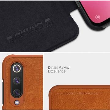 Чехол-книжка Nillkin (серия Qin) для смартфона Xiaomi Mi9 SE, смарт-чехол, чехол-книжка, противоударный чехол, горизонтальный флип, пластик, искусственная кожа, PU, чёрный, коричневый, красный, Киев
