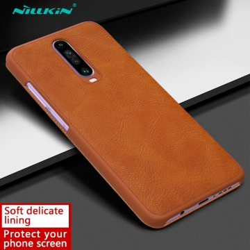 Чехол-книжка Nillkin (серия Qin) для смартфона Xiaomi Redmi K30 / Redmi K30 5G, смарт-чехол, чехол-книжка, противоударный чехол, горизонтальный флип, пластик, искусственная кожа, PU, чёрный, коричневый, красный, Киев