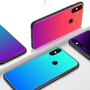 Чехол-накладка Amzboon для смартфона Xiaomi Mi8, защитный чехол, противоударный чехол, термополиуретан, поликарбонат, закалённое стекло, градиентная окраска (цвета плавно переходят из одного в другой), монохромная окраска, накладки на кнопки регулировки громкости и включения / выключения, двойное отверстие для крепления ремешка, чёрный, красный, голубой, розовый, чёрный + фиолетовый, голубой + фиолетовый, красный + фиолетовый, розовый + фиолетовый, жёлтый + зелёный, Киев