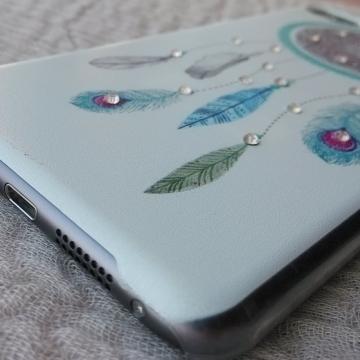 Чехол-накладка для Lenovo Sisley S90, бампер, пластик, рисунок ловец снов (Dreamcatcher), рисунок кошки и рыбки, стразы, Киев