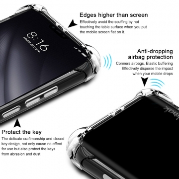 Чехол-накладка iMak (Airbag Version) + плёнка для смартфона Xiaomi Mi8 Lite, противоударный бампер, силиконовый чехол, прозрачный термополиуретан, чёрный гладкий термополиуретан, чёрный шероховатый термополиуретан, TPU, логотип «iMak», накладки на кнопки регулировки громкости и включения / выключения, дополнительная защита углов смартфона «воздушными подушками», защитная плёнка повышенной прочности, Киев