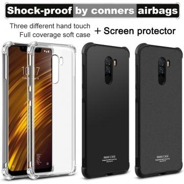 Чехол-накладка iMak (Airbag Version) + плёнка для смартфона Xiaomi Pocophone F1 / Xiaomi Poco F1, противоударный бампер, силиконовый чехол, прозрачный термополиуретан, чёрный гладкий термополиуретан, чёрный шероховатый термополиуретан, TPU, логотип «iMak», накладки на кнопки регулировки громкости и включения / выключения, дополнительная защита углов смартфона «воздушными подушками», защитная плёнка повышенной прочности, Киев
