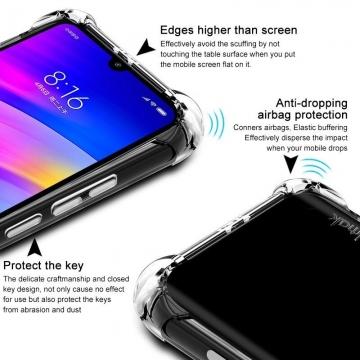 Чехол-накладка iMak (Airbag Version) + плёнка для смартфона Xiaomi RedMi 7, противоударный бампер, силиконовый чехол, прозрачный термополиуретан, чёрный гладкий термополиуретан, чёрный шероховатый термополиуретан, TPU, логотип «iMak», накладки на кнопки регулировки громкости и включения / выключения, дополнительная защита углов смартфона «воздушными подушками», защитная плёнка повышенной прочности, Киев