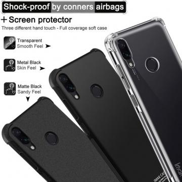 Чехол-накладка iMak (Airbag Version) + плёнка для смартфона Xiaomi RedMi Note 7, противоударный бампер, силиконовый чехол, прозрачный термополиуретан, чёрный гладкий термополиуретан, чёрный шероховатый термополиуретан, TPU, логотип «iMak», накладки на кнопки регулировки громкости и включения / выключения, дополнительная защита углов смартфона «воздушными подушками», защитная плёнка повышенной прочности, Киев
