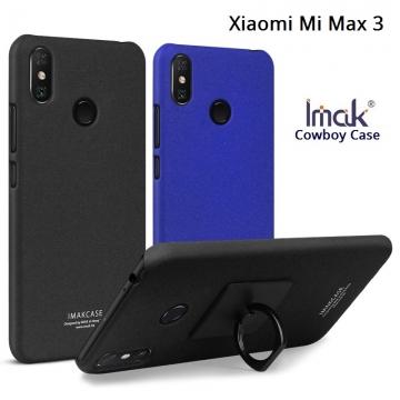 Чехол-накладка iMak (серия Cowboy Case) + плёнка для смартфона Xiaomi Mi Max 3, противоударный бампер, шероховатый пластик, поликарбонат, защитная плёнка, съёмное кольцо для пальца, крючок для крепления в автомобиле, чёрный, синий, Киев