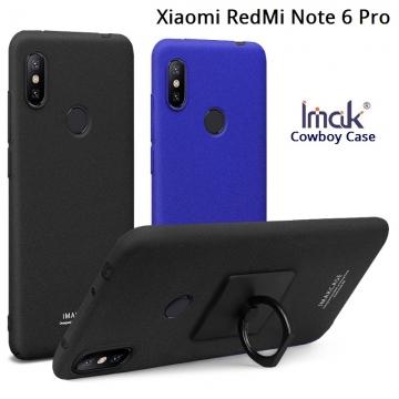 Чехол-накладка iMak (серия Cowboy Case) + плёнка для смартфона Xiaomi RedMi Note 6 Pro, противоударный бампер, шероховатый пластик, поликарбонат, защитная плёнка, съёмное кольцо для пальца, крючок для крепления в автомобиле, чёрный, синий, Киев