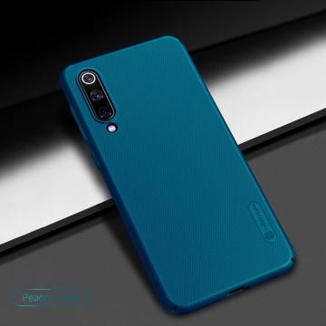 Чехол-накладка Nillkin Super Frosted Shield для смартфона Xiaomi Mi9 SE, противоударный бампер, рифлёный пластик, чёрный, белый, золотой, красный, сапфирово-синий (Sapphire Blue), сине-зелёный (Peacock Blue), подставка для просмотра видео, Киев
