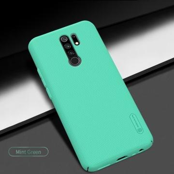 Чехол-накладка Nillkin Super Frosted Shield для смартфона Xiaomi Redmi 9, противоударный бампер, рифлёный пластик, чёрный, белый, золотой, красный, сапфирово-синий (Sapphire Blue), сине-зелёный (Peacock Blue), мятный (Mint Green), подставка для просмотра видео, Киев