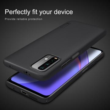 Чехол-накладка Nillkin Super Frosted Shield для смартфона Xiaomi Redmi Note 9 4G (China) / Xiaomi Redmi 9T / Xiaomi Redmi 9 Power, противоударный бампер, рифлёный пластик, накладки на кнопки регулировки громкости, чёрный, белый, золотой, красный, сапфирово-синий (Sapphire Blue), сине-зелёный (Peacock Blue), подставка для просмотра видео, Киев