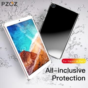 Чехол-накладка PZOZ (Airbag Version) для планшета Xiaomi Mi Pad 4, противоударный бампер, термополиуретан, дополнительная защита углов смартфона «воздушными подушками», накладки на кнопки регулировки громкости и включения / выключения, прозрачный, прозрачный с чёрным оттенком, прозрачный с красным оттенком, Киев