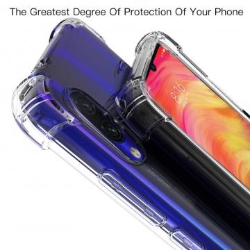 Чехол-накладка PZOZ (Airbag Version) для смартфона Xiaomi RedMi Note 7, термополиуретан, дополнительная защита углов смартфона «воздушными подушками», накладки на кнопки регулировки громкости и включения / выключения, прозрачный, прозрачный с чёрным оттенком, прозрачный с красным оттенком, Киев