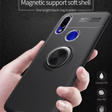 Чехол-накладка с магнитным кольцом для смартфона Xiaomi Mi Play, противоударный чехол, термополиуретан (TPU), накладки на кнопки регулировки громкости и включения / выключения, несъёмное кольцо для пальца, которое также можно использовать как подставку при просмотре видео, угол поворота кольца 360 градусов, угол наклона кольца 150 градусов, металлический сердечник крепится к автомобильным магнитным держателям, чёрный, синий, красный, розовый, Киев