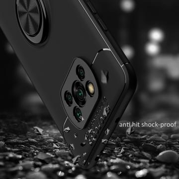Чехол-накладка с магнитным кольцом для смартфона Xiaomi Poco X3, противоударный бампер, термополиуретан (TPU), накладки на кнопки регулировки громкости и включения / выключения, несъёмное кольцо для пальца, которое также можно использовать как подставку при просмотре видео, угол поворота кольца 360 градусов, угол наклона кольца 150 градусов, металлический сердечник крепится к автомобильным магнитным держателям, чёрный, синий, красный, розовый, Киев