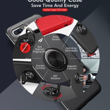 Чехол-накладка с магнитным кольцом для смартфона Xiaomi Redmi 6, противоударный бампер, термополиуретан (TPU), накладки на кнопки регулировки громкости и включения / выключения, несъёмное кольцо для пальца, которое также можно использовать как подставку при просмотре видео, угол поворота кольца 360 градусов, угол наклона кольца 150 градусов, металлический сердечник крепится к автомобильным магнитным держателям, чёрный, синий, красный, розовый, Киев