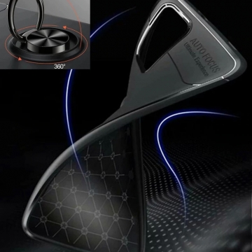 Чехол-накладка с магнитным кольцом для смартфона Xiaomi Redmi Note 9 4G (China), противоударный бампер, термополиуретан (TPU), накладки на кнопки регулировки громкости и включения / выключения, несъёмное кольцо для пальца, которое также можно использовать как подставку при просмотре видео, угол поворота кольца 360 градусов, угол наклона кольца 150 градусов, металлический сердечник крепится к автомобильным магнитным держателям, чёрный, синий, красный, розовый, Киев