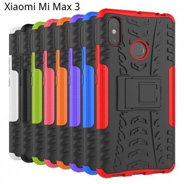 Чехол-накладка с подставкой для смартфона Xiaomi Mi Max 3, бронированный бампер, поликарбонат + термополиуретан, сочетание жёсткости с гибкостью, в чехол встроена подставка для просмотра видео, чёрный + чёрный, чёрный + красный, чёрный + оранжевый, чёрный +розовый, чёрный + синий, чёрный + фиолетовый, чёрный + зелёный, чёрный + белый, Киев