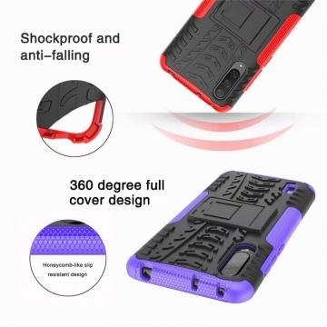 Чехол-накладка с подставкой для смартфона Xiaomi Mi9 Lite / Xiaomi Mi CC9, бронированный бампер, поликарбонат + термополиуретан, сочетание жёсткости с гибкостью, в чехол встроена подставка для просмотра видео, чёрный + чёрный, чёрный + красный, чёрный + оранжевый, чёрный +розовый, чёрный + синий, чёрный + фиолетовый, чёрный + зелёный, чёрный + белый, Киев