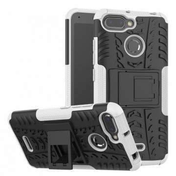 Чехол-накладка с подставкой для смартфона Xiaomi Redmi 6, бронированный бампер, поликарбонат + термополиуретан, сочетание жёсткости с гибкостью, в чехол встроена подставка для просмотра видео, чёрный + чёрный, чёрный + красный, чёрный + оранжевый, чёрный +розовый, чёрный + синий, чёрный + фиолетовый, чёрный + зелёный, чёрный + белый, Киев