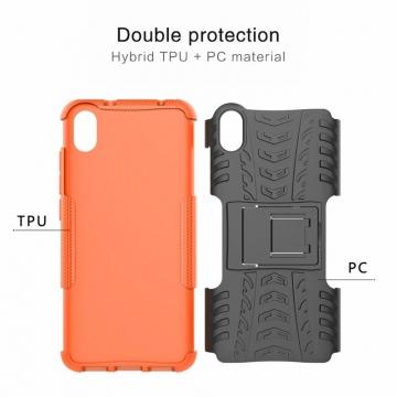 Чехол-накладка с подставкой для смартфона Xiaomi Redmi 7A, бронированный бампер, поликарбонат + термополиуретан, сочетание жёсткости с гибкостью, в чехол встроена подставка для просмотра видео, чёрный + чёрный, чёрный + красный, чёрный + оранжевый, чёрный +розовый, чёрный + синий, чёрный + фиолетовый, чёрный + зелёный, чёрный + белый, Киев
