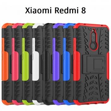 Чехол-накладка с подставкой для смартфона Xiaomi Redmi 8, бронированный бампер, поликарбонат + термополиуретан, сочетание жёсткости с гибкостью, в чехол встроена подставка для просмотра видео, чёрный + чёрный, чёрный + красный, чёрный + оранжевый, чёрный +розовый, чёрный + синий, чёрный + фиолетовый, чёрный + зелёный, чёрный + белый, Киев