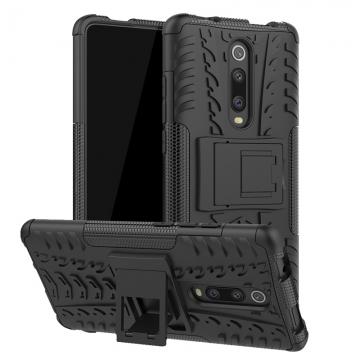 Чехол-накладка с подставкой для смартфона Xiaomi Redmi K20 / Xiaomi Redmi K20 Pro / Xiaomi Mi9T / Xiaomi Mi9T Pro, бронированный бампер, поликарбонат + термополиуретан, сочетание жёсткости с гибкостью, в чехол встроена подставка для просмотра видео, чёрный + чёрный, чёрный + красный, чёрный + оранжевый, чёрный +розовый, чёрный + синий, чёрный + фиолетовый, чёрный + зелёный, чёрный + белый, Киев