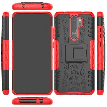 Чехол-накладка с подставкой для смартфона Xiaomi Redmi Note 8 Pro, бронированный бампер, поликарбонат + термополиуретан, сочетание жёсткости с гибкостью, в чехол встроена подставка для просмотра видео, чёрный + чёрный, чёрный + красный, чёрный + оранжевый, чёрный +розовый, чёрный + синий, чёрный + фиолетовый, чёрный + зелёный, чёрный + белый, Киев