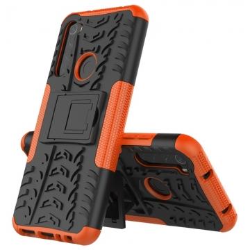 Чехол-накладка с подставкой для смартфона Xiaomi Redmi Note 8T, бронированный бампер, поликарбонат + термополиуретан, сочетание жёсткости с гибкостью, в чехол встроена подставка для просмотра видео, чёрный + чёрный, чёрный + красный, чёрный + оранжевый, чёрный +розовый, чёрный + синий, чёрный + фиолетовый, чёрный + зелёный, чёрный + белый, Киев