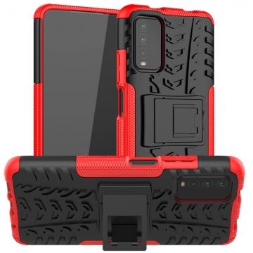 Чехол-накладка с подставкой для смартфона Xiaomi Redmi Note 9 4G (China) / Xiaomi Redmi 9T / Xiaomi Redmi 9 Power / Xiaomi Poco M3, бронированный противоударный бампер, поликарбонат + термополиуретан, сочетание жёсткости с гибкостью, в чехол встроена подставка для просмотра видео, чёрный + чёрный, чёрный + красный, чёрный + оранжевый, чёрный +розовый, чёрный + синий, чёрный + фиолетовый, чёрный + зелёный, чёрный + белый, Киев