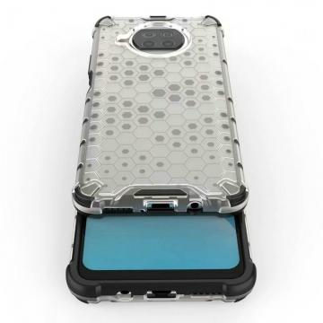 Чехол-накладка с рисунком в виде сот для смартфона Xiaomi Mi10T Lite / Xiaomi Redmi Note 9 Pro 5G (China), противоударный бампер, задняя панель из поликарбоната, рама из термополиуретана, сочетание жёсткости с гибкостью, дополнительная защита углов смартфона «воздушными подушками», накладка на кнопки регулировки громкости, чёрный + прозрачный, чёрный + серый, чёрный + красный, чёрный + синий, чёрный + зелёный, Киев
