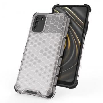 Чехол-накладка с рисунком в виде сот для смартфона Xiaomi Poco M3, противоударный бампер, задняя панель из поликарбоната, рама из термополиуретана, сочетание жёсткости с гибкостью, дополнительная защита углов смартфона «воздушными подушками», накладка на кнопки регулировки громкости, чёрный + прозрачный, чёрный + серый, чёрный + красный, чёрный + синий, чёрный + зелёный, Киев
