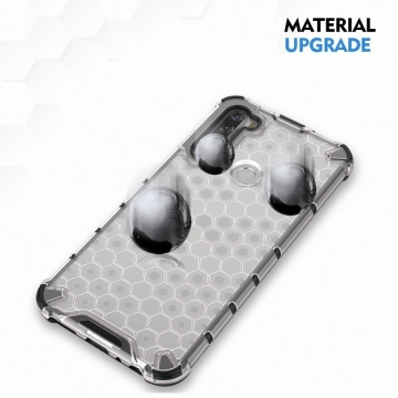 Чехол-накладка с рисунком в виде сот для смартфона Xiaomi Redmi Note 8T, задняя панель из поликарбоната, рама из термополиуретана, сочетание жёсткости с гибкостью, дополнительная защита углов смартфона «воздушными подушками», накладка на кнопки регулировки громкости и включения / выключения, чёрный + прозрачный, чёрный + серый, чёрный + красный, чёрный + синий, чёрный + зелёный, Киев