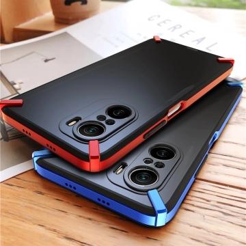 Чехол-накладка X-4 Series для Xiaomi Poco F3 / Xiaomi Redmi K40 / Xiaomi Redmi K40 Pro / Xiaomi Mi 11i, полупрозрачный поликарбонат с серым оттенком, рама из цветного поликарбоната, дополнительная защита углов смартфона, накладка на кнопки регулировки громкости, серый, синий, красный,  розовый, Киев