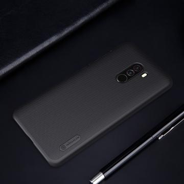 Чехол Nillkin + плёнка для смартфона Xiaomi Pocophone F1 / Xiaomi Poco F1, противоударный бампер, рифлёный пластик, чёрный, белый, золотой, красный, защитная плёнка, Киев