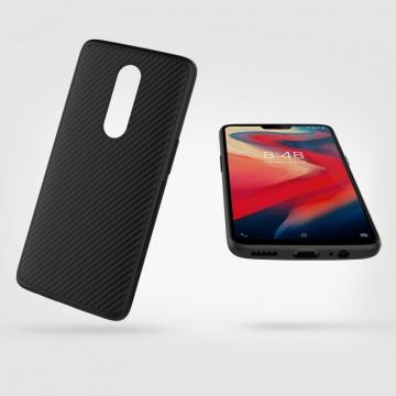 Чехол Nillkin с углеродным волокном для смартфона OnePlus 6, synthetic fiber, противоударный чехол, рифлёный пластик с углеродным волокном, кевлар, логотип Nillkin, металлическая пластина в задней стенке крепится к автомобильным магнитным держателям, чёрный, Киев
