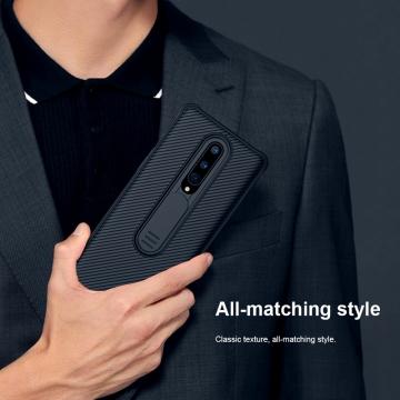 Чехол с защитной шторкой для камеры Nillkin CamShield для смартфона OnePlus 8, противоударный бампер, рифлёный пластик, шторка-слайдер для защиты камеры от механических воздействий, чёрный, Киев