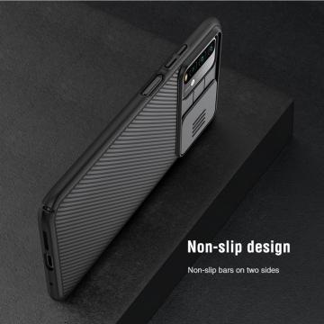 Чехол с защитной шторкой для камеры Nillkin CamShield для смартфона Xiaomi Redmi Note 9 4G (China) / Xiaomi Redmi 9T / Xiaomi Redmi 9 Power, противоударный бампер, рифлёный пластик, шторка-слайдер для защиты камеры от механических воздействий, чёрный, синий, Киев