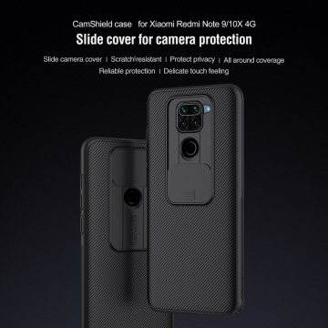 Чехол с защитной шторкой для камеры Nillkin CamShield для смартфона Xiaomi Redmi Note 9 / Xiaomi Redmi 10X 4G, противоударный бампер, рифлёный пластик, шторка-слайдер для защиты камеры от механических воздействий, чёрный, Киев