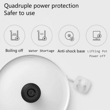 Электрический чайник Xiaomi MiJia Electric Kettle 1A, MJDSH02YM, бесшовная колба из нержавеющей стали AISI 304, матовый полипропилен, двухслойная конструкция с воздушной изоляционной прослойкой между колбой и корпусом, клавиша включения / выключения с LED подсветкой, термостат британского производства, защита от включения без воды, кнопка на крышке для открывания крышки, объём 1,5 л, мощность 1800 Вт, белый, Киев