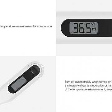 Xiaomi Electronic Thermometer, электронный безртутный термометр Xiaomi, ABS пластик, водонепроницаемый наконечник, дисплей LCD, диапазон измеряемых температур: 32 – 42,9 °C, погрешность: ± 0,1 °C, аксиллярный, подмышечный, оральный, ротовой, звуковой сигнал по окончании измерения температуры, автоотключение, батарейка CR 1220, белый, футляр для хранения, фабричная упаковка, Киев