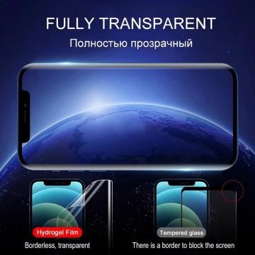 Гидрогелевая защитная плёнка для смартфона iPhone 12 / iPhone 12 Pro, в комплект входят 2 плёнки, бронированная плёнка, полноэкранная плёнка (закрывает экран смартфона полностью), клеится к экрану смартфона всей поверхностью, клеится без использования жидкости, самовосстанавливающаяся плёнка, не влияет на чувствительность сенсора, не искажает цвета, олеофобное покрытие, пластиковый держатель для точного позиционирования плёнки на экране, шпатель для разглаживания плёнки, Киев
