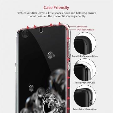 Гидрогелевая защитная плёнка для смартфона Samsung Galaxy S20 Ultra, в комплект входят 2 плёнки, бронированная плёнка, полноэкранная плёнка (закрывает экран смартфона полностью), клеится к экрану смартфона всей поверхностью, клеится без использования жидкости, самовосстанавливающаяся плёнка, не влияет на чувствительность сенсора, не искажает цвета, олеофобное покрытие, пластиковый держатель для точного позиционирования плёнки на экране, шпатель для разглаживания плёнки, Киев