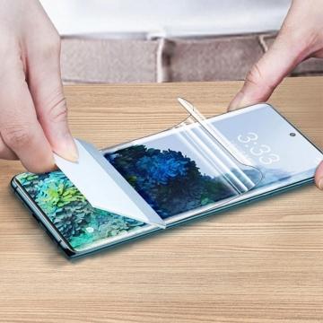 Гидрогелевая защитная плёнка для смартфона Samsung Galaxy S21+, в комплект входят 2 плёнки, бронированная плёнка, полноэкранная плёнка (закрывает экран смартфона полностью), клеится к экрану смартфона всей поверхностью, клеится без использования жидкости, самовосстанавливающаяся плёнка, не влияет на чувствительность сенсора, не искажает цвета, олеофобное покрытие, пластиковый держатель для точного позиционирования плёнки на экране, шпатель для разглаживания плёнки, Киев