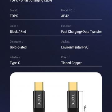 Кабель TOPK 60 Вт (USB Type-C – USB Type-C, луженая медь, термопластичный эластомер и нейлоновая оплётка, разъёмы из алюминиевого сплава, быстрая зарядка Qualcomm Quick Charge 4.0, USB Power Delivery до 60 Вт, скорость передачи данных до 480 Мб/с, Киев