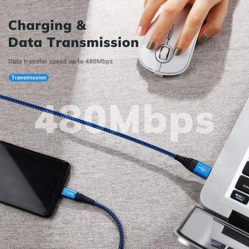 Кабель TOPK (USB – USB Type-C) для зарядки и передачи данных, луженая медь, термопластичный эластомер и нейлоновая оплётка, разъёмы из алюминиевого сплава, поддерживает быструю зарядку Qualcomm Quick Charge 3.0 (для устройств с функцией быстрой зарядки), встроенный смарт-чип, длина 1 м, чёрный, красный, синий, фабричная упаковка, Киев