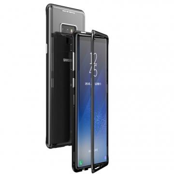 Магнитный чехол Luphie с задней стеклянной панелью для смартфона Samsung Galaxy Note 9, противоударный бампер, рама из магналия, сплав алюминия и магния, задняя панель из закалённого стекла, бронированное стекло, соединяются магнитами, 9H, не влияет на качество приёма / передачи сигнала, не мешает беспроводной зарядке, чёрный, серебряный, голубой, фиолетовый, Киев
